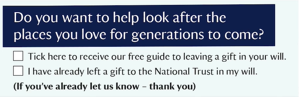 National Trust include Gift in Will information option in their raffle response device.