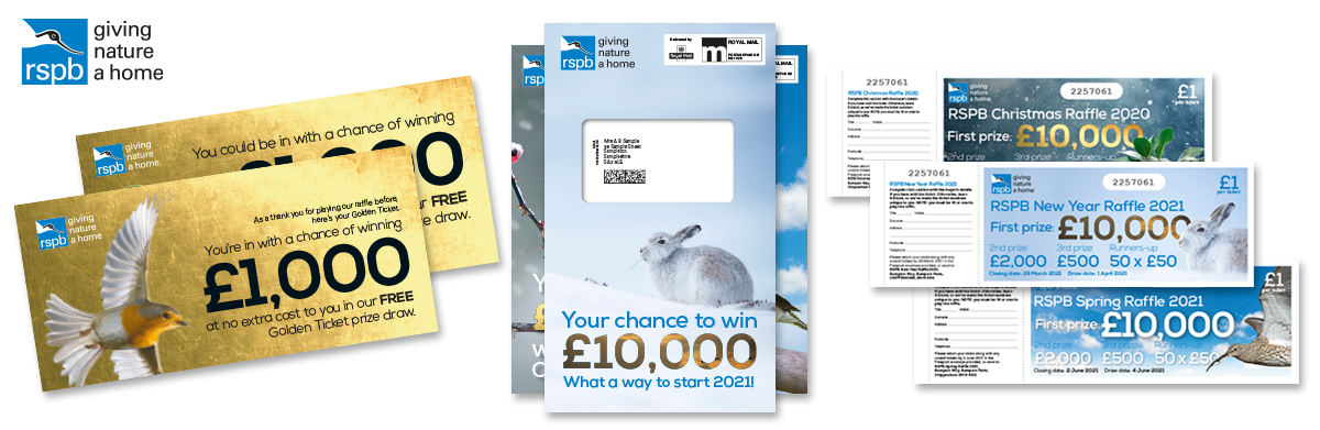 RSPB golden ticket incentives, postal creatives and raffle tickets as part of a charity raffle project by Woods Valldata.