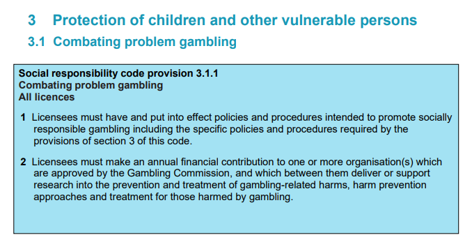 Gambling Commission LCCP provision 3 for problem Gambling