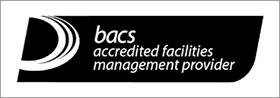 The Bacs accredited facilities management provider logo, representing Woods Valldata's compliance in charity fundraising services.